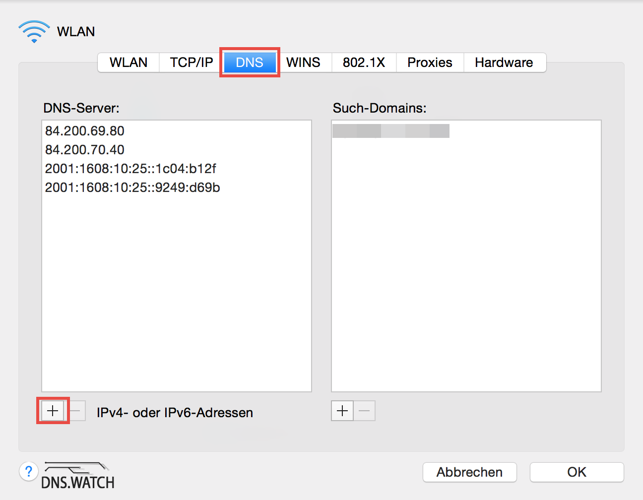 mac os x yosemite dns entry