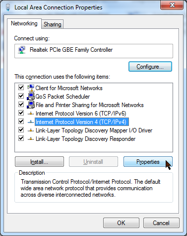 Windows 7 Local Area Network Connection properties